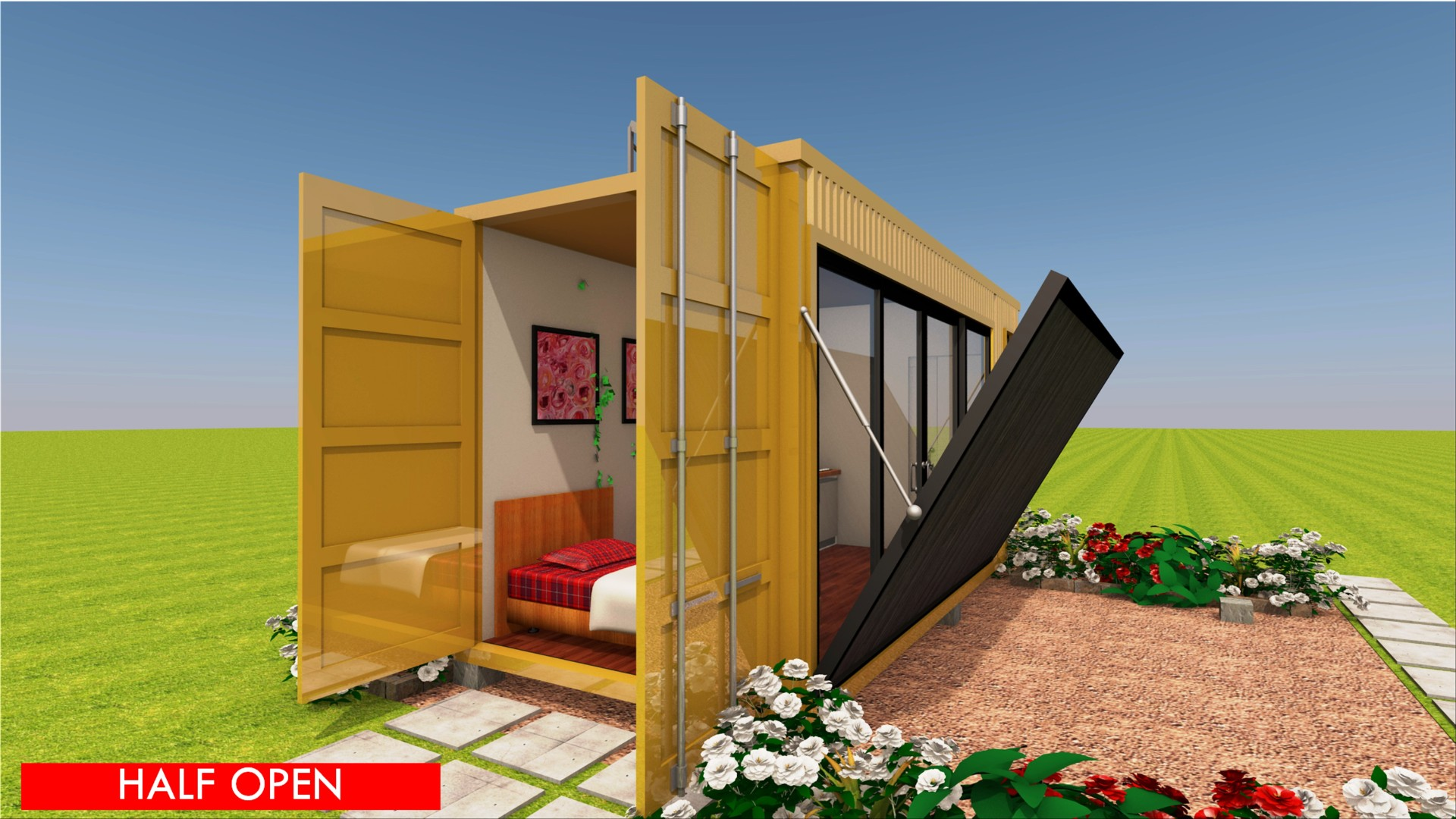 An Off Grid Shipping Container Cabin Prefab Design With A