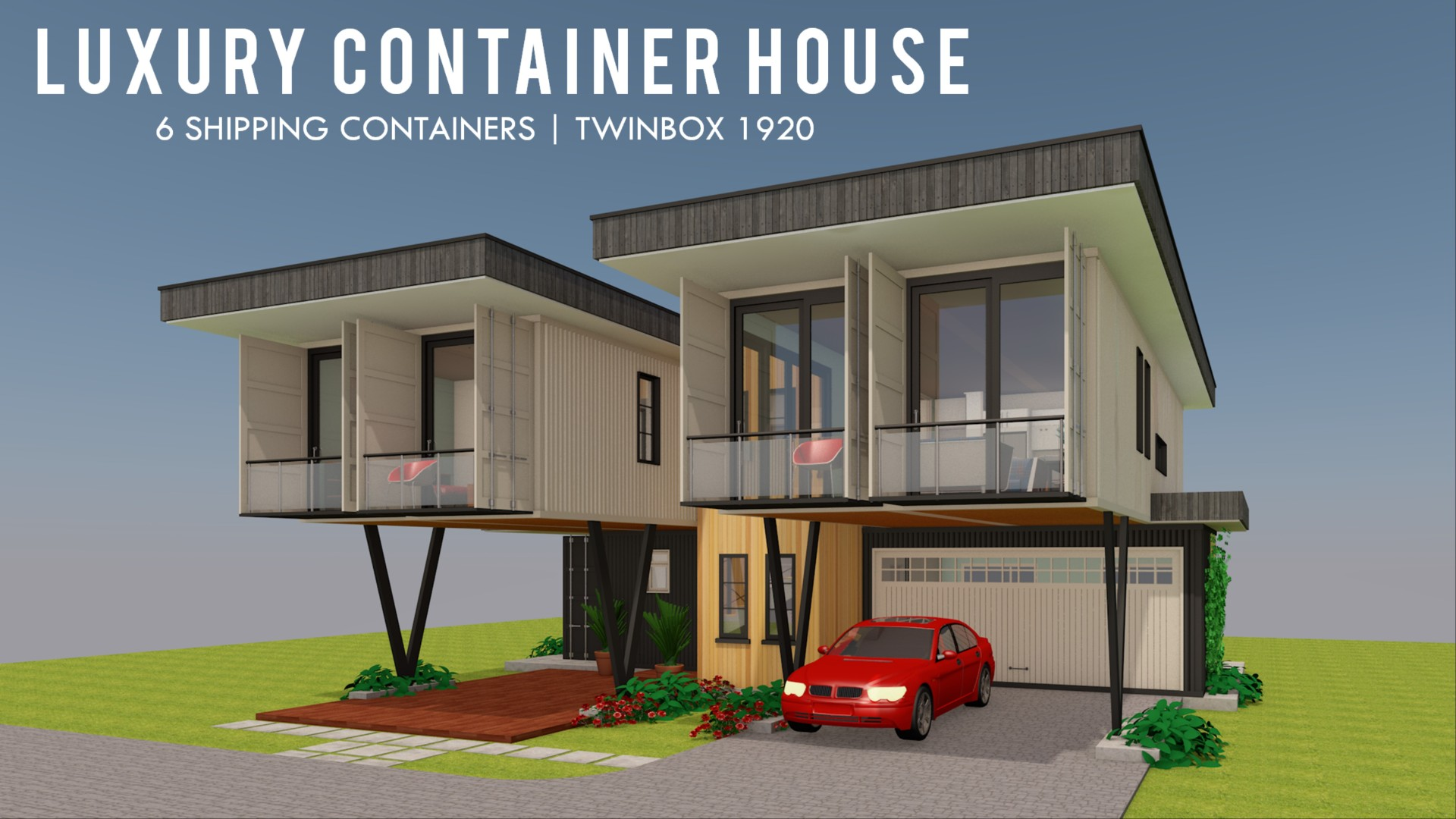 Modern Shipping Container Home twinbox 1920 | id. s25321920 | 5 beds | 3 baths | 1920+sft.|