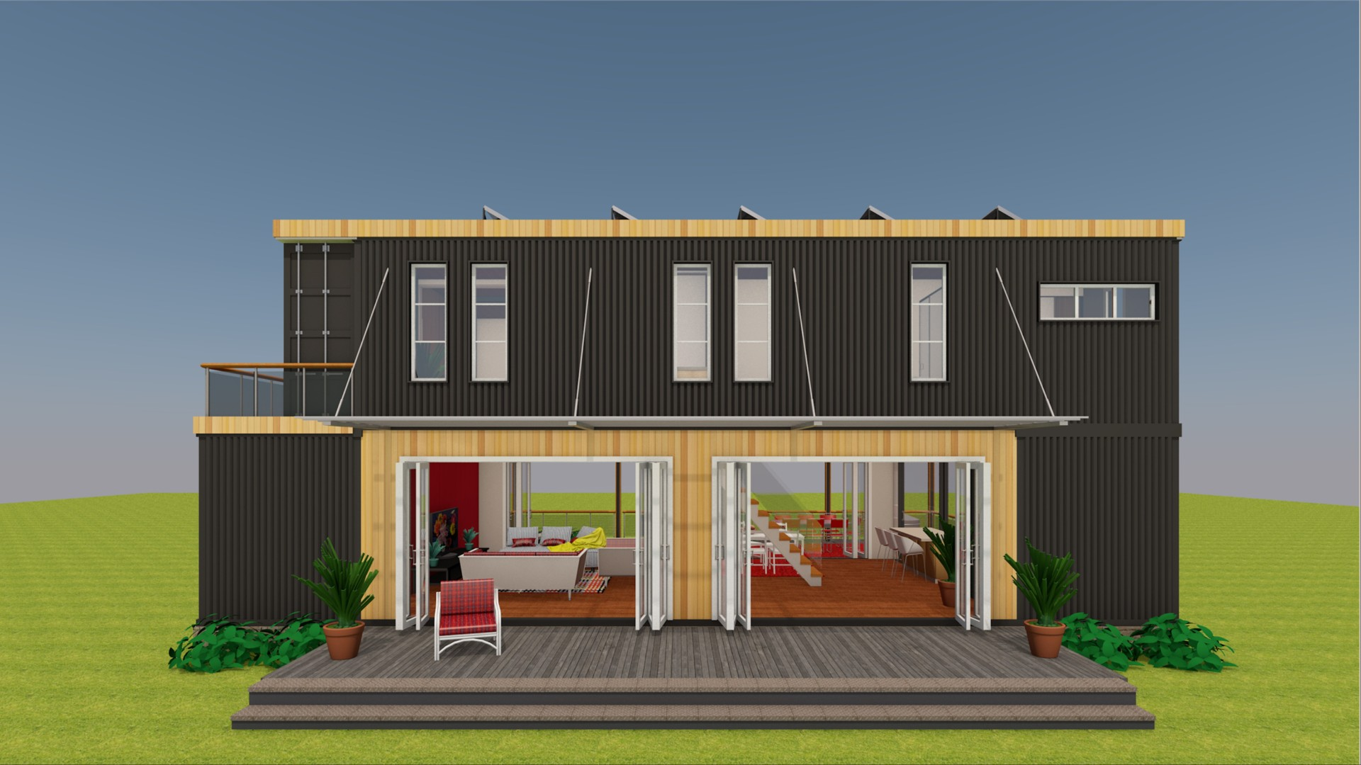 Luxury Shipping Container House Plan Design Breezeway 960
