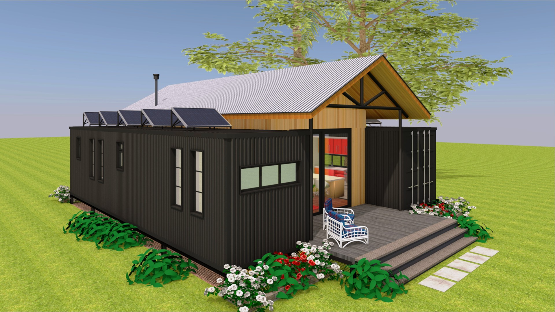 Shipping Container Farmhouse House Design